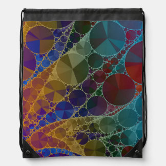 Psychedelic Rainbow Bling Abstract Drawstring Bag