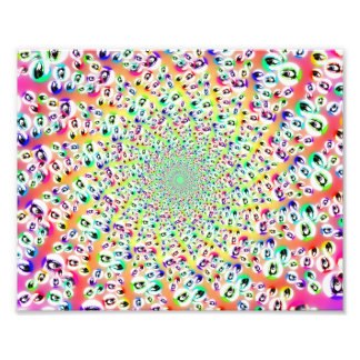 Psychedelic Rainbow Eyes Mandala Photo Print