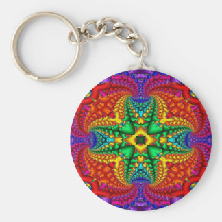 Psychedelic Rainbow Fractal Basic Round Button Keychain