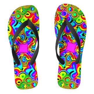 Psychedelic Rainbow Fractal Sandals Flip Flops