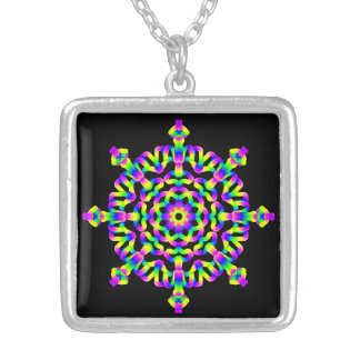 *~* Psychedelic Rainbow Hippy Good Vibe Mandala Silver Plated Necklace