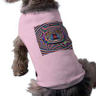 Psychedelic Rainbow Laser Beams Fractal Dog Tshirt