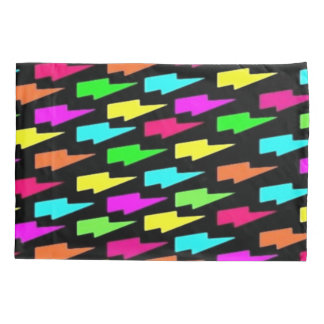 Psychedelic Rainbow Lightning Bolts Pattern Pillowcase
