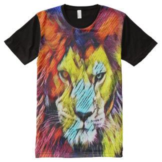 Psychedelic Rainbow Lion Art Graphic Tee