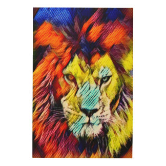 Psychedelic Rainbow Lion Art Wood Canvases