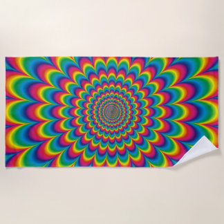 Psychedelic Rainbow Optical Illusion Beach Towel