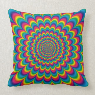 Psychedelic Rainbow Optical Illusion Throw Pillow