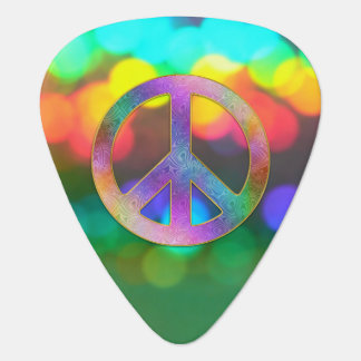 Psychedelic Rainbow Peace Music Guitar Pick