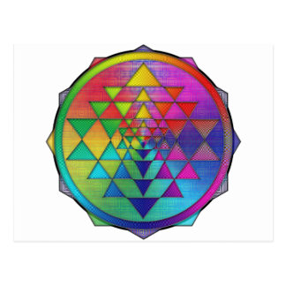 Psychedelic Rainbow Sri Yantra for Prosperity Postcard