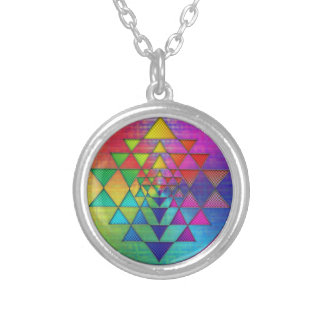 Psychedelic Rainbow Sri Yantra for Prosperity Silver Plated Necklace