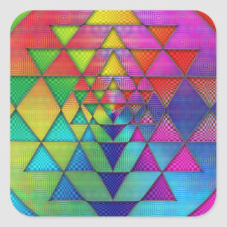 Psychedelic Rainbow Sri Yantra for Prosperity Square Sticker