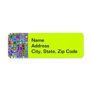 Psychedelic Rainbow Textured Mosaic Tiles Pattern Return Address Label