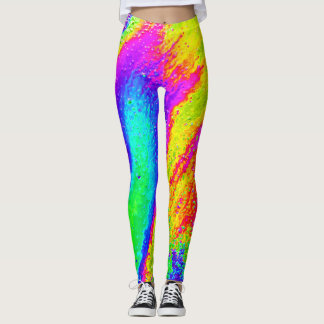 Psychedelic Rainbow Yoga Running Exercise Leggings