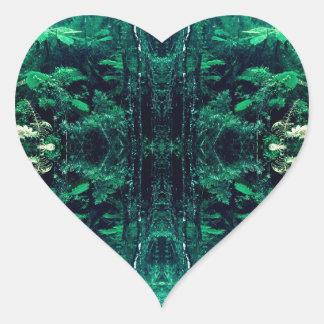 Psychedelic Rainforest Heart Sticker