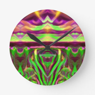 Psychedelic Rave Print Round Clock