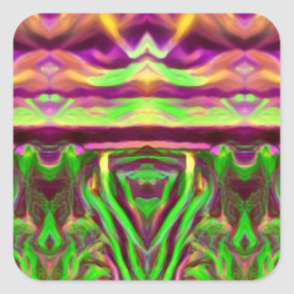 Psychedelic Rave Print Square Sticker