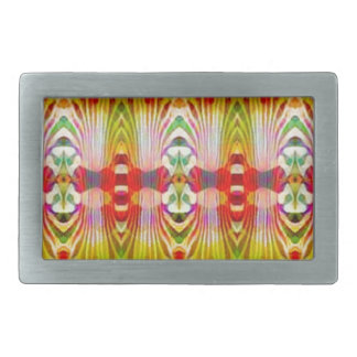 Psychedelic Red Yellow Rectangular Belt Buckles