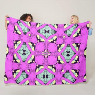 Psychedelic Rockabilly Space Rock Satin Foulard Fleece Blanket