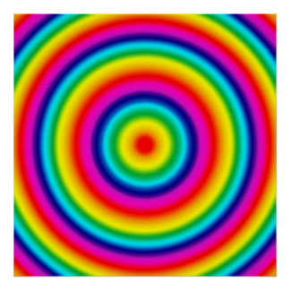 Psychedelic Round Rainbow Pattern Poster