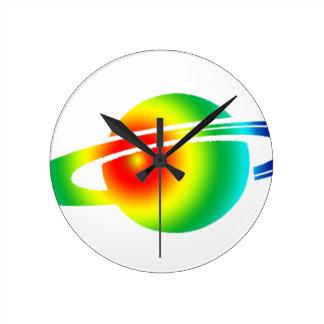 Psychedelic Saturn Round Clock