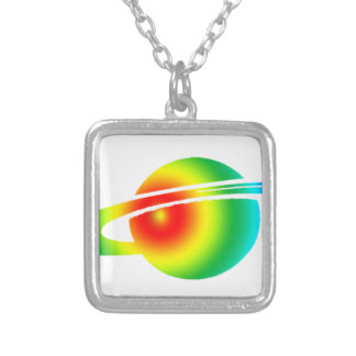 Psychedelic Saturn Silver Plated Necklace