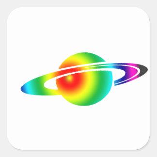 Psychedelic Saturn Square Sticker