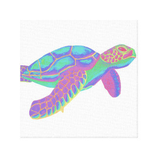 Psychedelic Sea Turtle Canvas Print