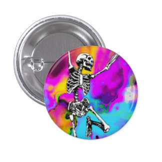 Psychedelic Skeleton 1 Inch Round Button