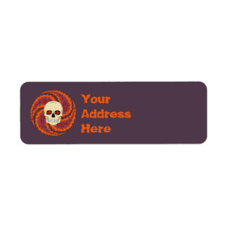 Psychedelic Skull Return Address Label