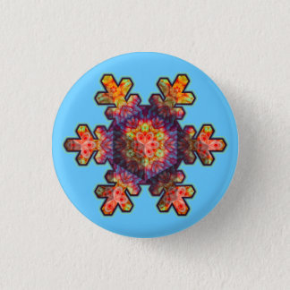 Psychedelic Snowflake 1 Inch Round Button