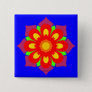 Psychedelic Snowflake 2 Inch Square Button