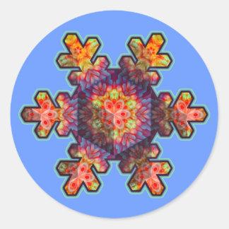 Psychedelic Snowflake Round Sticker