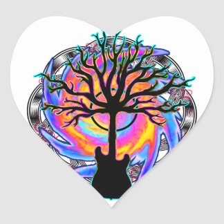 """""""Psychedelic Sonic Cyclone"""" surreal guitar art Heart Sticker"""