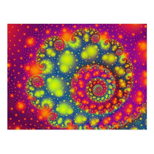 Psychedelic Spiral Neon Decorative Abstract Art Post Cards