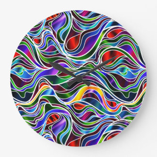 Psychedelic Stained Glass Abstract Clock