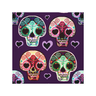 Psychedelic Sugar Art Skulls Canvas Print