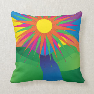 Psychedelic Sun Neon Landscape Throw Pillow