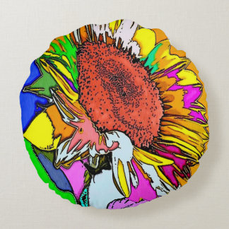 Psychedelic Sunflower Round Throw Cushion