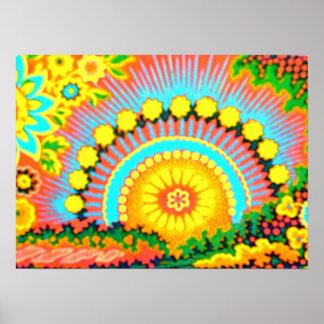 Psychedelic Sunset Vintage 60 s Pop Art Poster