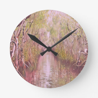 Psychedelic Swamp Round Clock