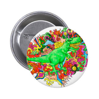 Psychedelic T-Rex 2 Inch Round Button