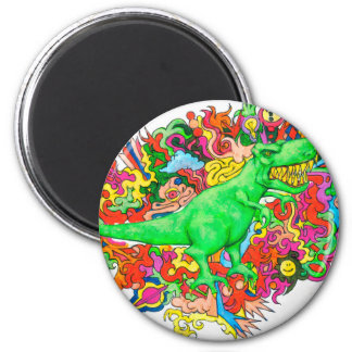 Psychedelic T-Rex 2 Inch Round Magnet