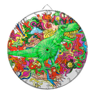 Psychedelic T-Rex Dartboards