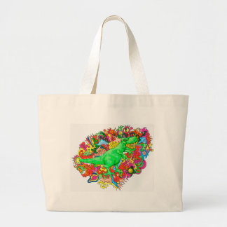 Psychedelic T-Rex Large Tote Bag