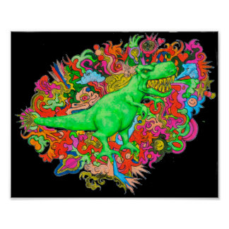 Psychedelic T-Rex Poster