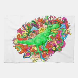 Psychedelic T-Rex Towels