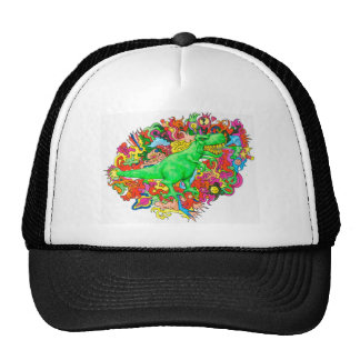 Psychedelic T-Rex Trucker Hat