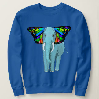Psychedelic Teal Elephant With Butterfly Ears Cool Sweatshirt