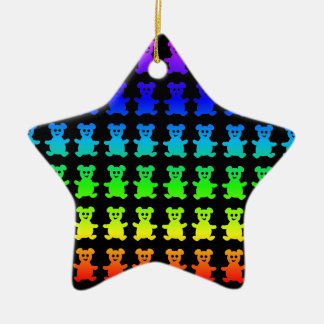 Psychedelic teddy bears. ceramic star ornament