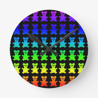 Psychedelic teddy bears. round clock